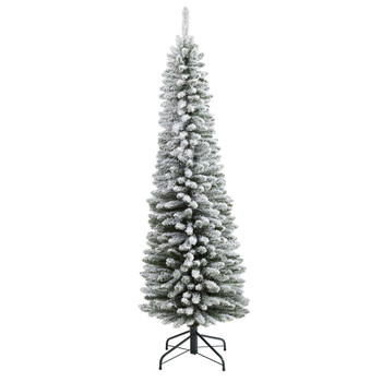 6 Flocked Pencil Artificial Christmas Tree with 438 Bendable Branches - SKU #T2010
