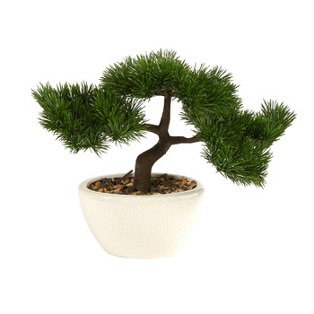 10 Cedar Bonsai Artificial Tree in Decorative Planter - SKU #T2020