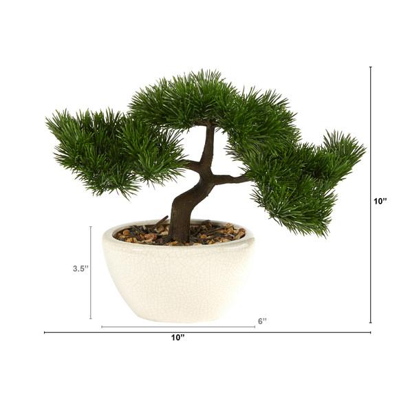 10 Cedar Bonsai Artificial Tree in Decorative Planter - SKU #T2020 - 1