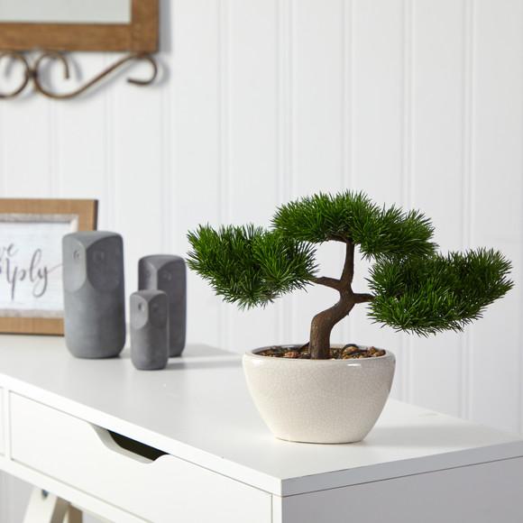10 Cedar Bonsai Artificial Tree in Decorative Planter - SKU #T2020 - 2