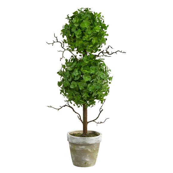 2 Eucalyptus Double Ball Topiary Artificial Tree - SKU #T2033