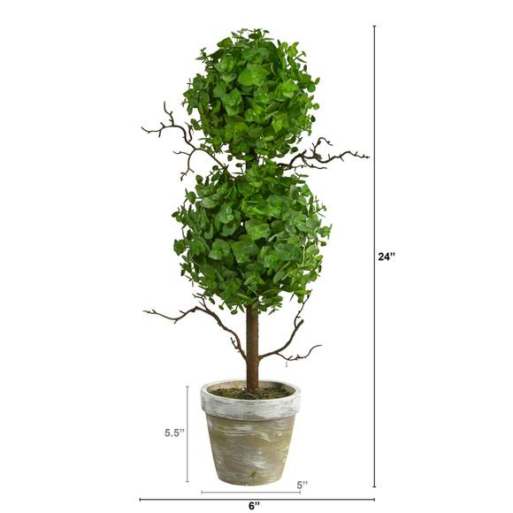 2 Eucalyptus Double Ball Topiary Artificial Tree - SKU #T2033 - 1