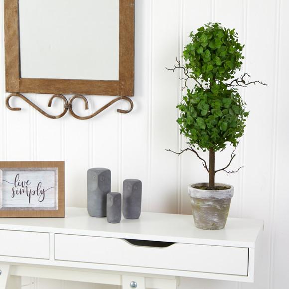 2 Eucalyptus Double Ball Topiary Artificial Tree - SKU #T2033 - 2