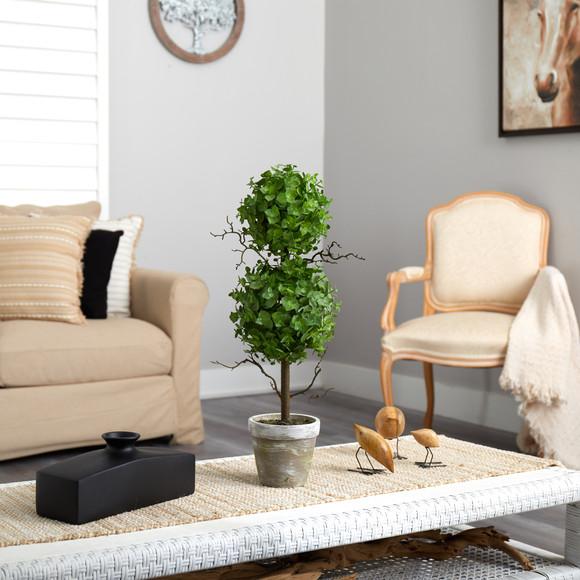 2 Eucalyptus Double Ball Topiary Artificial Tree - SKU #T2033 - 3