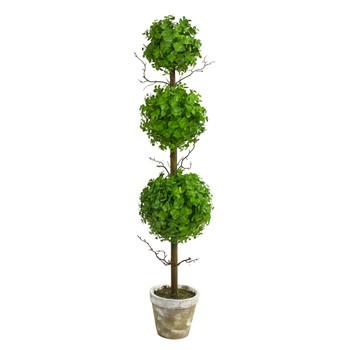 3 Eucalyptus Triple Ball Topiary Artificial Tree - SKU #T2034
