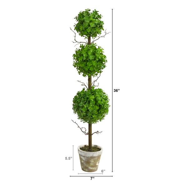 3 Eucalyptus Triple Ball Topiary Artificial Tree - SKU #T2034 - 1