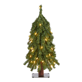 2 Grand Alpine Artificial Christmas Tree with 35 Clear Lights and 111 Bendable Branches on Natural - SKU #T2035