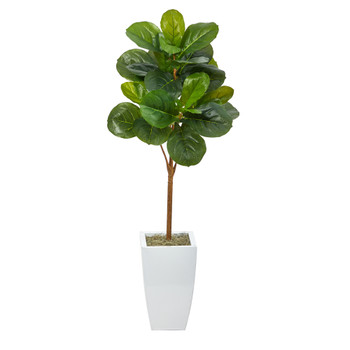 45 Fiddle Leaf Artificial Tree in White Metal Planter - SKU #T2110