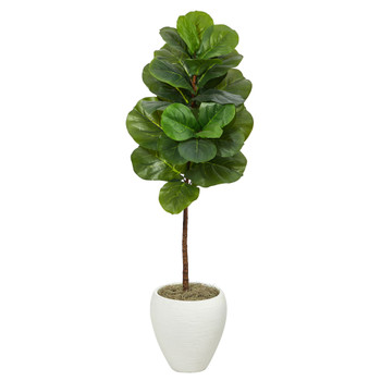 52 Fiddle Leaf Artificial Tree in White Planter - SKU #T2114