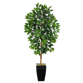 4.5 Ficus Artificial Tree in Black Metal Planter - SKU #T2115