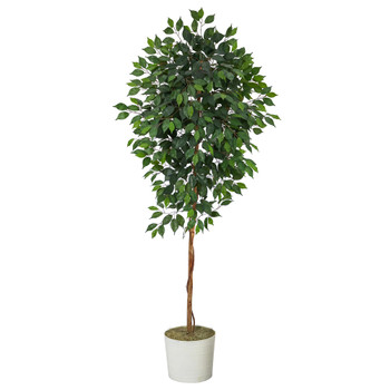 6 Ficus Artificial Tree in White Tin Planter - SKU #T2117
