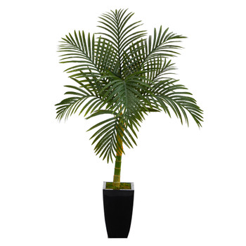 4.5 Golden Cane Artificial Palm Tree in Black Metal Planter - SKU #T2120