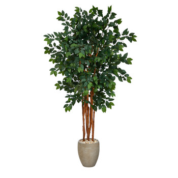 5.5 Sakaki Artificial Tree with 1470 Bendable Branches in Sand Colored Planter - SKU #T2149