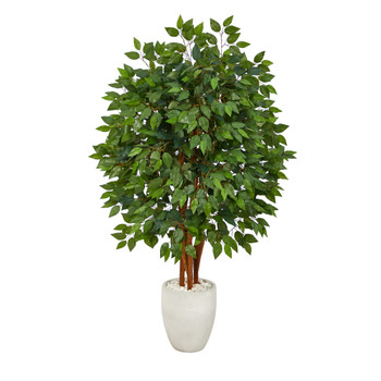 57 Super Deluxe Artificial Ficus Tree in White Planter - SKU #T2150