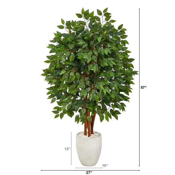 57 Super Deluxe Artificial Ficus Tree in White Planter - SKU #T2150 - 1