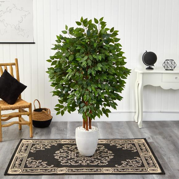 57 Super Deluxe Artificial Ficus Tree in White Planter - SKU #T2150 - 2