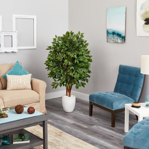 57 Super Deluxe Artificial Ficus Tree in White Planter - SKU #T2150 - 3