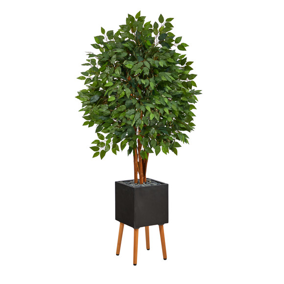 5.5 Super Deluxe Artificial Ficus Tree in Black Planter with Stand - SKU #T2151
