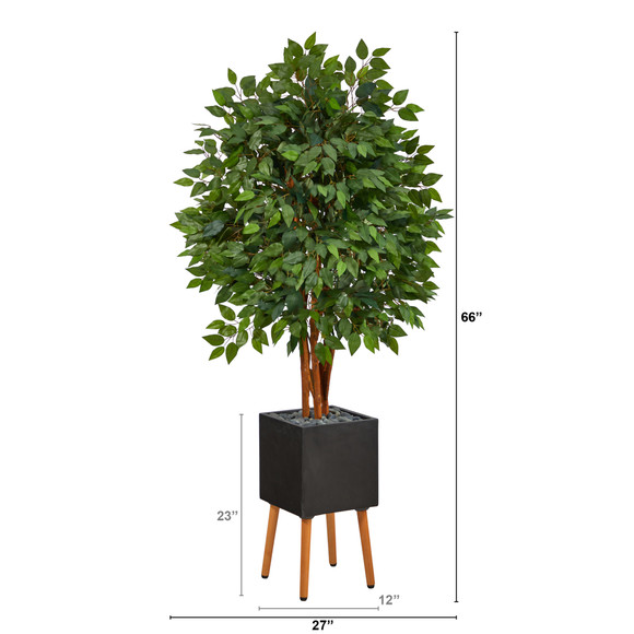 5.5 Super Deluxe Artificial Ficus Tree in Black Planter with Stand - SKU #T2151 - 1
