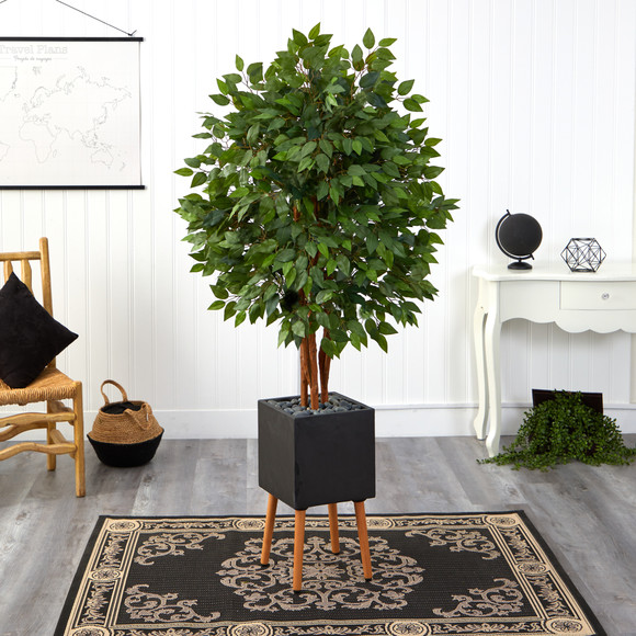 5.5 Super Deluxe Artificial Ficus Tree in Black Planter with Stand - SKU #T2151 - 2