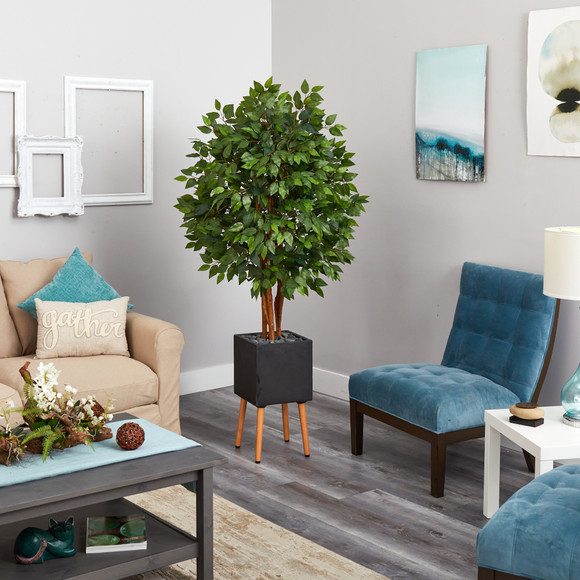 5.5 Super Deluxe Artificial Ficus Tree in Black Planter with Stand - SKU #T2151 - 3