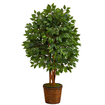 5 Super Deluxe Artificial Ficus Tree in Wicker Planter - SKU #T2152