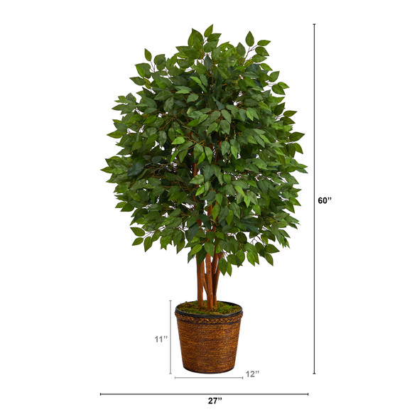 5 Super Deluxe Artificial Ficus Tree in Wicker Planter - SKU #T2152 - 1