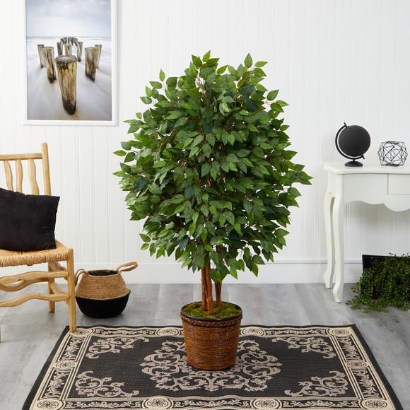 5 Super Deluxe Artificial Ficus Tree in Wicker Planter - SKU #T2152 - 2