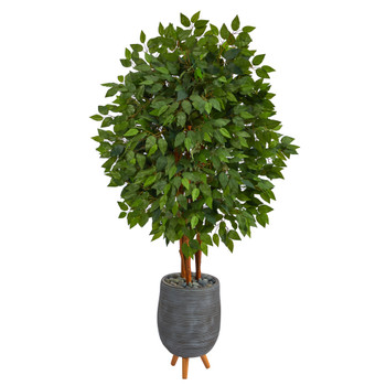 63 Super Deluxe Artificial Ficus Tree in Gray Planter with Stand - SKU #T2153