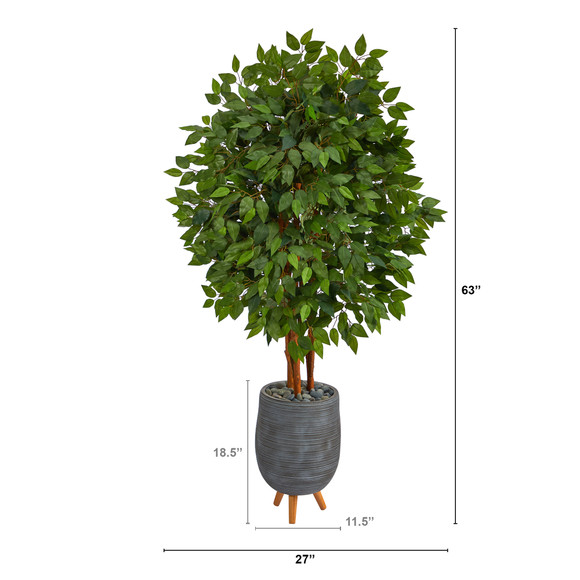 63 Super Deluxe Artificial Ficus Tree in Gray Planter with Stand - SKU #T2153 - 1
