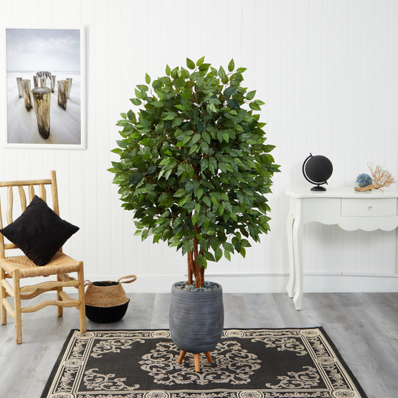 63 Super Deluxe Artificial Ficus Tree in Gray Planter with Stand - SKU #T2153 - 2