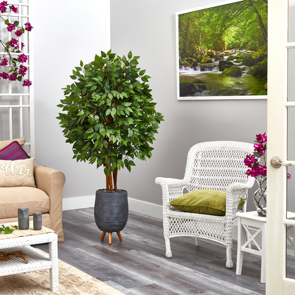 63 Super Deluxe Artificial Ficus Tree in Gray Planter with Stand - SKU #T2153 - 3