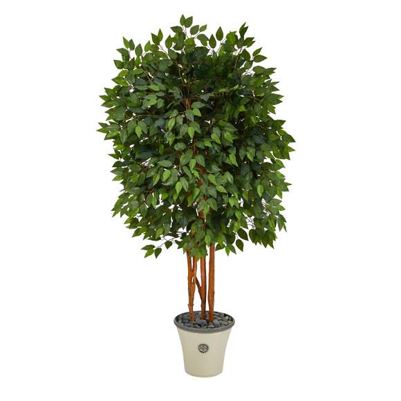 5.5 Super Deluxe Ficus Artificial Tree in Decorative Planter - SKU #T2154