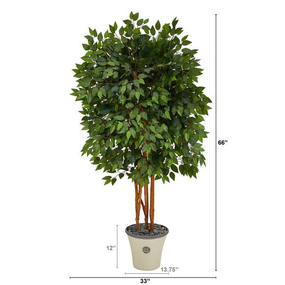 5.5 Super Deluxe Ficus Artificial Tree in Decorative Planter - SKU #T2154 - 1