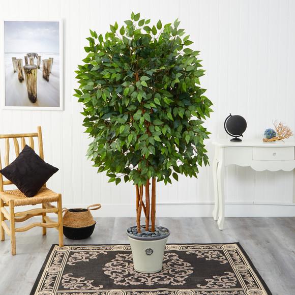 5.5 Super Deluxe Ficus Artificial Tree in Decorative Planter - SKU #T2154 - 2