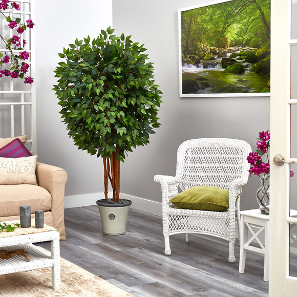 5.5 Super Deluxe Ficus Artificial Tree in Decorative Planter - SKU #T2154 - 3