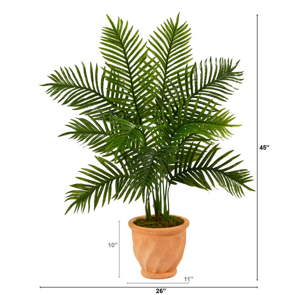 45 Areca Palm Artificial Tree in in Terra-Cotta Planter Real Touch - SKU #T2155 - 1