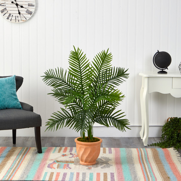 45 Areca Palm Artificial Tree in in Terra-Cotta Planter Real Touch - SKU #T2155 - 2