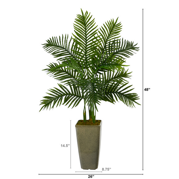 4 Areca Palm Artificial Tree in Green Planter Real Touch - SKU #T2156 - 1