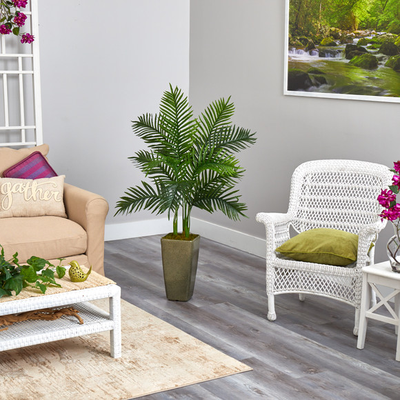 4 Areca Palm Artificial Tree in Green Planter Real Touch - SKU #T2156 - 3