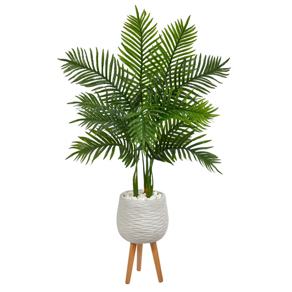 52 Areca Palm Artificial Tree in White Planter with Stand Real Touch - SKU #T2157