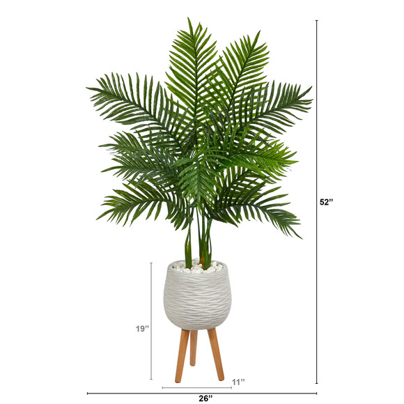 52 Areca Palm Artificial Tree in White Planter with Stand Real Touch - SKU #T2157 - 1