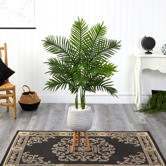 52 Areca Palm Artificial Tree in White Planter with Stand Real Touch - SKU #T2157 - 2