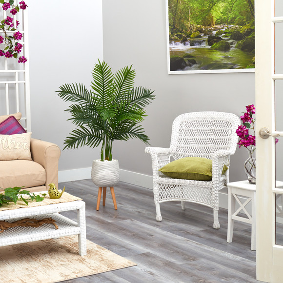 52 Areca Palm Artificial Tree in White Planter with Stand Real Touch - SKU #T2157 - 3