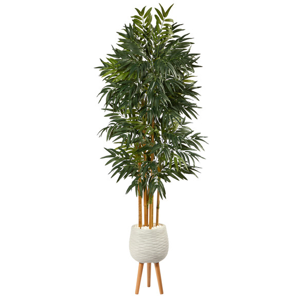 74 Phoenix Palm Artificial tree in White Planter with Stand - SKU #T2163