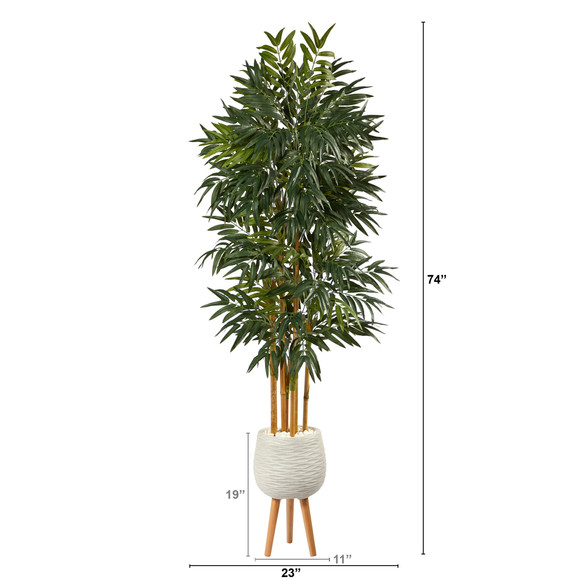 74 Phoenix Palm Artificial tree in White Planter with Stand - SKU #T2163 - 1
