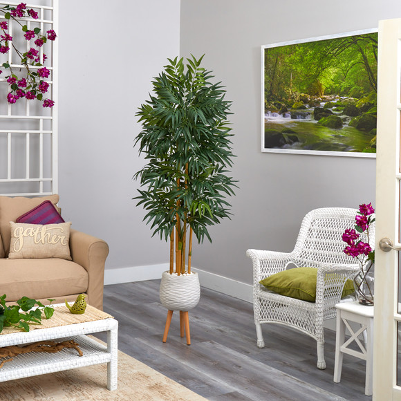 74 Phoenix Palm Artificial tree in White Planter with Stand - SKU #T2163 - 2