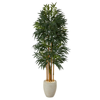 69 Phoenix Palm Artificial tree in White Planter with Stand - SKU #T2164
