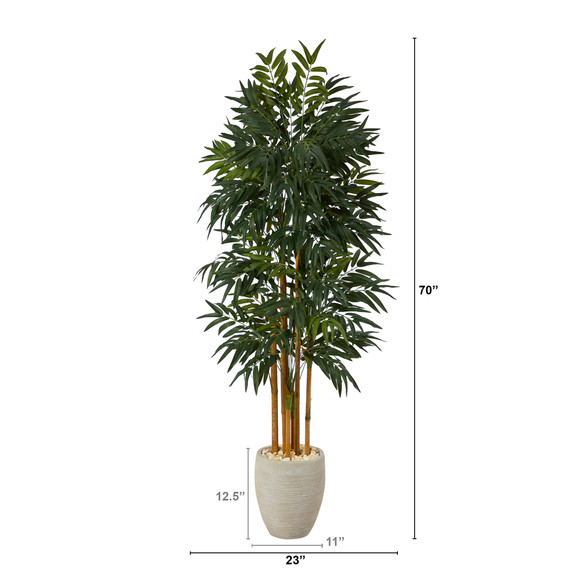 69 Phoenix Palm Artificial tree in White Planter with Stand - SKU #T2164 - 1
