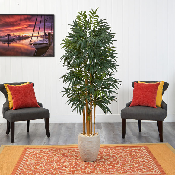 69 Phoenix Palm Artificial tree in White Planter with Stand - SKU #T2164 - 2